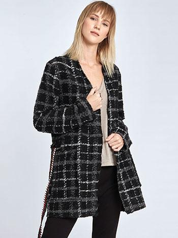 Μπουκλέ καρό παλτό με αποσπώμενη ζώνη WL7770.5137+1 WL7770.5137+1 5e28efb4126